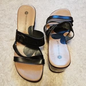 Size 6.5.  Montego Bay Club Strappy Leather Wedges